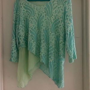 Gorgeous light Aqua Lace Tiered Top Size L